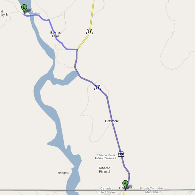 Location Koocanusa Campsite - Bc us border map