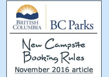 BC Parks New Campsite Booking Rules