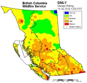 BC Fire Danger Rating Map