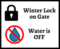 Winter Lock on Gate, Water is off